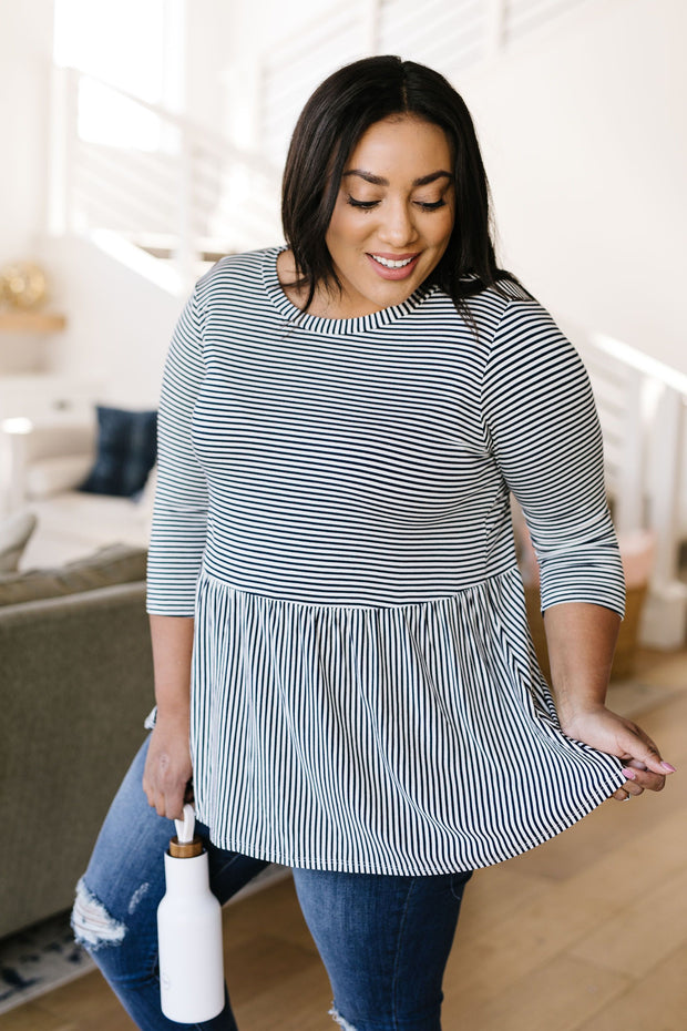 Mini Striped Babydoll Top In Navy - In House - Women's Clothing AfterPay Sezzle KanCan Judy Blue Simply Sass Boutique