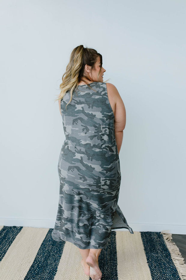 Minimum Exposure Camo Midi Dress - Women's Clothing AfterPay Sezzle KanCan Judy Blue Simply Sass Boutique