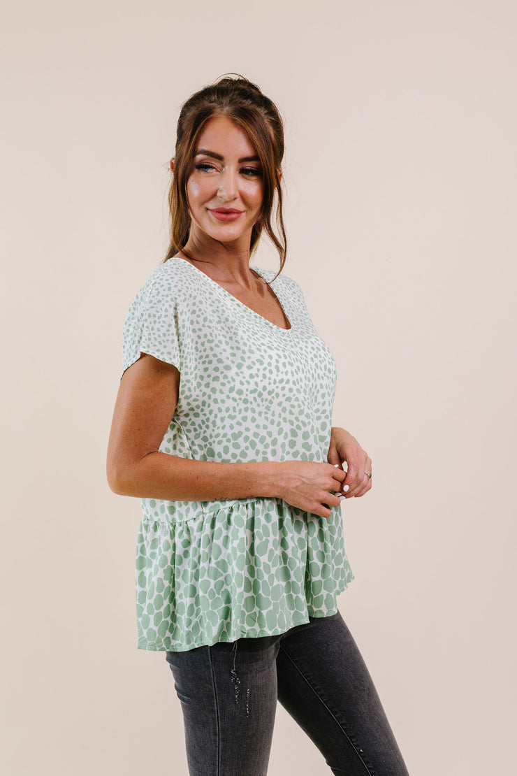 Minty Fresh Spots Blouse - Women's Clothing AfterPay Sezzle KanCan Judy Blue Simply Sass Boutique