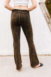 Mountain Pose Mineral Wash Yoga Pants In Brown - Women's Clothing AfterPay Sezzle KanCan Judy Blue Simply Sass Boutique