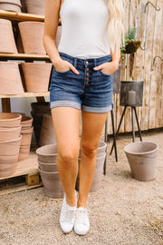 On The Fly Dark Wash Judy Blue Shorts - In House - Women's Clothing AfterPay Sezzle KanCan Judy Blue Simply Sass Boutique