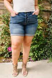 On The Fly Medium Wash Shorts - In House - Women's Clothing AfterPay Sezzle KanCan Judy Blue Simply Sass Boutique