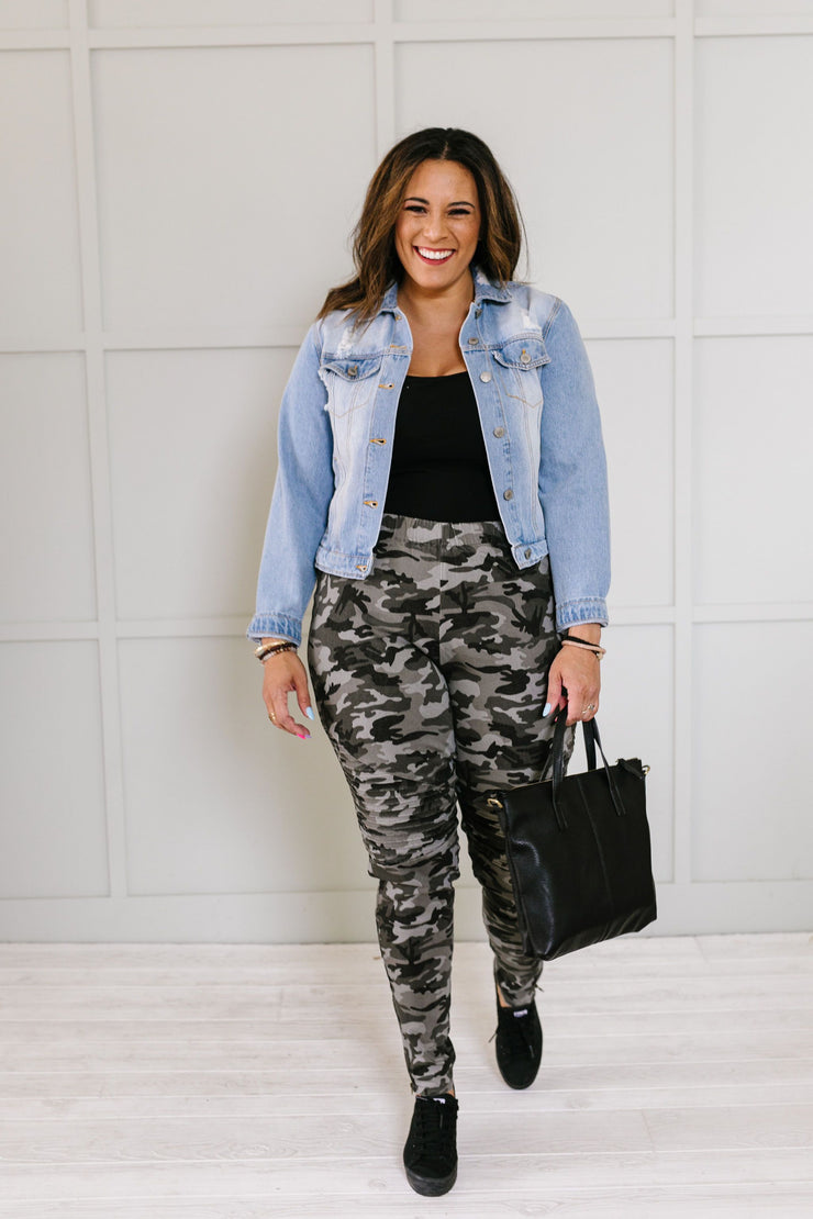 On The Move Camo Motos In Black - Women's Clothing AfterPay Sezzle KanCan Judy Blue Simply Sass Boutique