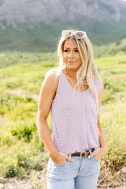 Open Weave Waffle Knit Tank In Lavender - Women's Clothing AfterPay Sezzle KanCan Judy Blue Simply Sass Boutique