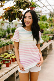Pastel Palette Ruffle Sleeve Top - Women's Clothing AfterPay Sezzle KanCan Judy Blue Simply Sass Boutique