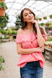 Penelope Pom Pom Off Shoulder Top In Watermelon - Women's Clothing AfterPay Sezzle KanCan Judy Blue Simply Sass Boutique