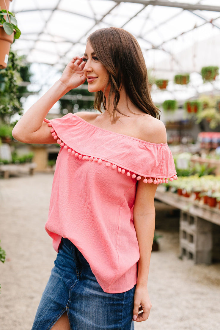 Penelope Pom Pom Off Shoulder Top In Watermelon - Simply Sass Boutique
