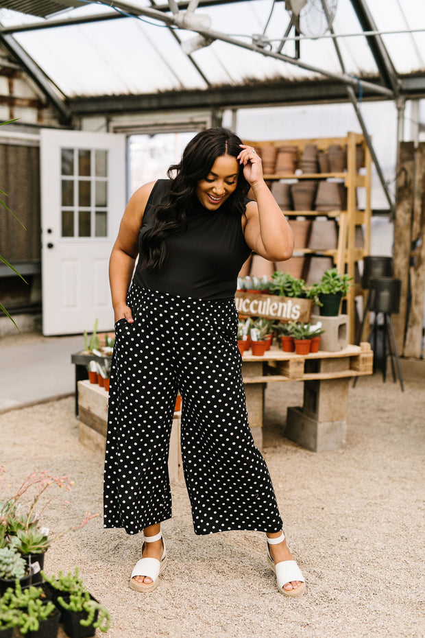 Polka Dot Gaucho Pants - Women's Clothing AfterPay Sezzle KanCan Judy Blue Simply Sass Boutique