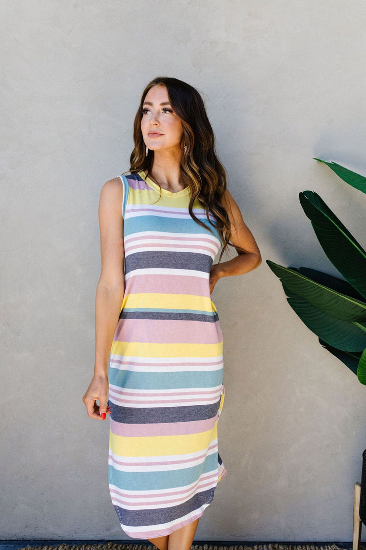 Pool Party Striped Midi Dress - Women's Clothing AfterPay Sezzle KanCan Judy Blue Simply Sass Boutique