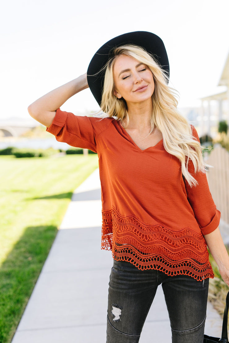 Pumpkin Spice Lace Hem Blouse - In House - Women's Clothing AfterPay Sezzle KanCan Judy Blue Simply Sass Boutique