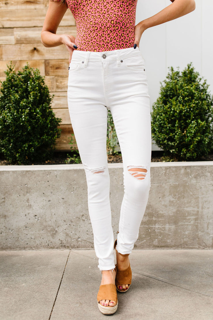 Ripped Knee White KanCan Jeans - Women's Clothing AfterPay Sezzle KanCan Judy Blue Simply Sass Boutique