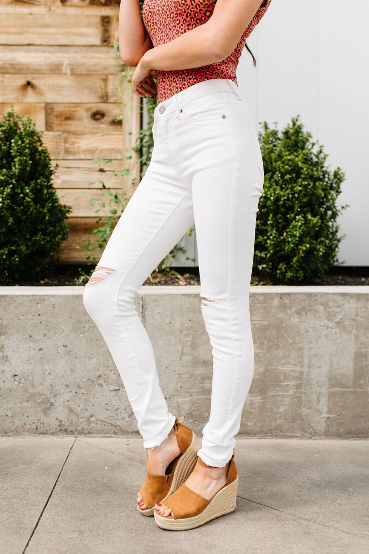 Ripped Knee White Distressed KanCan Jeans - In House - Women's Clothing AfterPay Sezzle KanCan Judy Blue Simply Sass Boutique