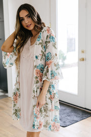 Roxy Kimono In Ivory - Women's Clothing AfterPay Sezzle KanCan Judy Blue Simply Sass Boutique