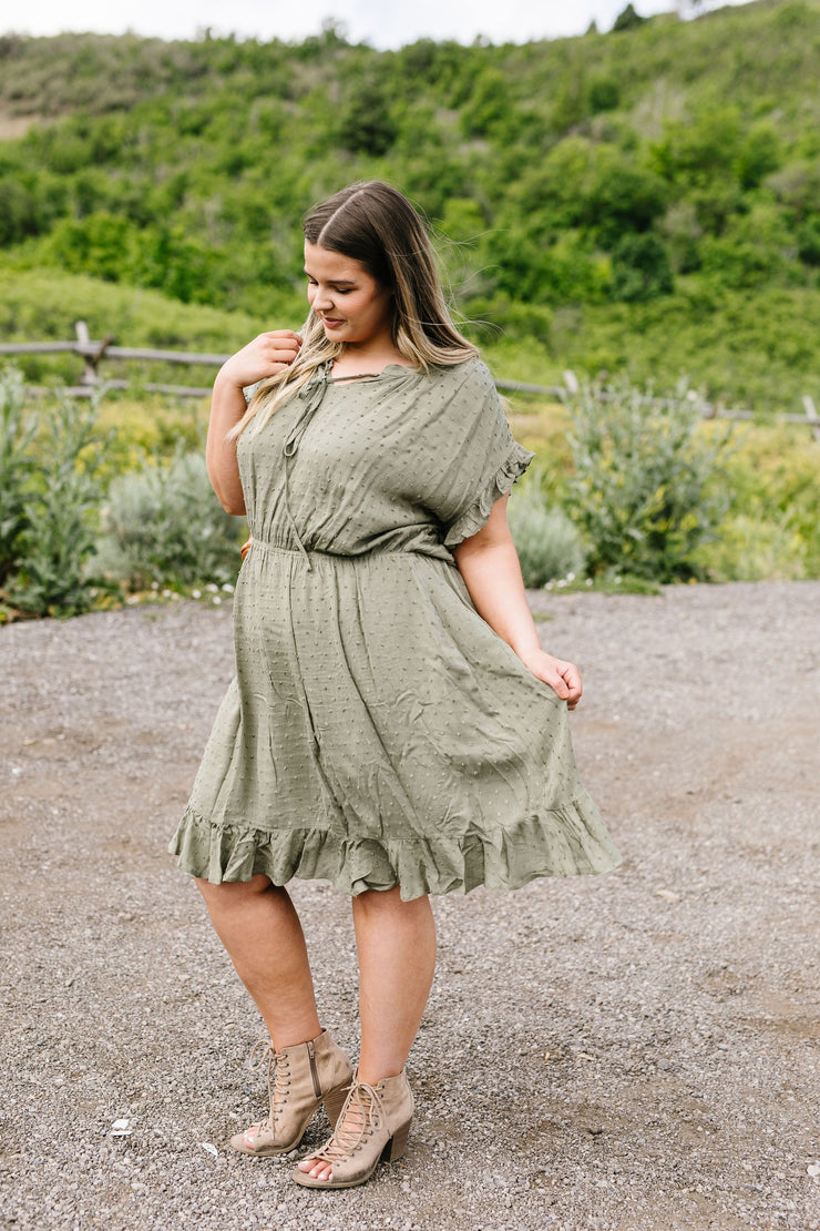 Ruffled Olive Swiss Dot Dress - Simply Sass Boutique