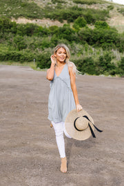 Ruffled V Babydoll Dress In Sage - Women's Clothing AfterPay Sezzle KanCan Judy Blue Simply Sass Boutique