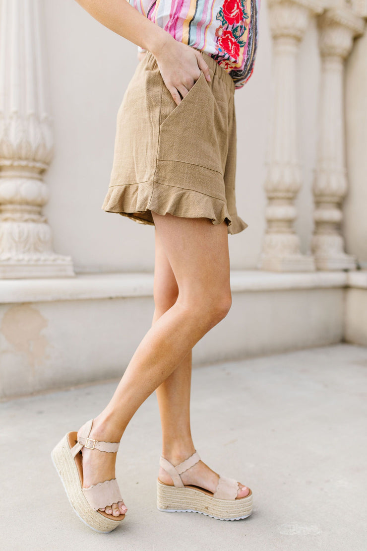 Ruffly Speaking Shorts In Khaki - Women's Clothing AfterPay Sezzle KanCan Judy Blue Simply Sass Boutique