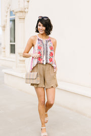 Ruffly Speaking Shorts In Khaki - Simply Sass Boutique