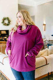 Safe & Sound Cowl Neck In Sugarplum - Women's Clothing AfterPay Sezzle KanCan Judy Blue Simply Sass Boutique