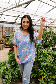 Satin Rose Blouse In Blue - Simply Sass Boutique