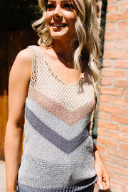 Sheer Chevron Sweater Tank - Simply Sass Boutique