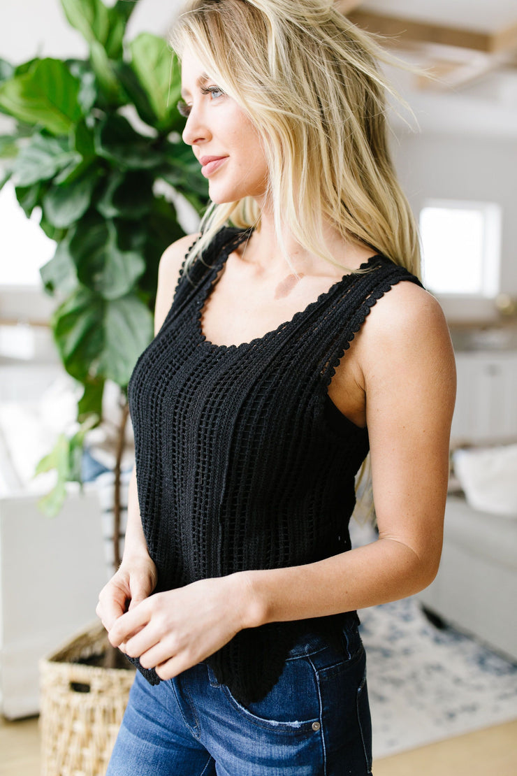 Sheer Scalloped Sweater In Black - Women's Clothing AfterPay Sezzle KanCan Judy Blue Simply Sass Boutique