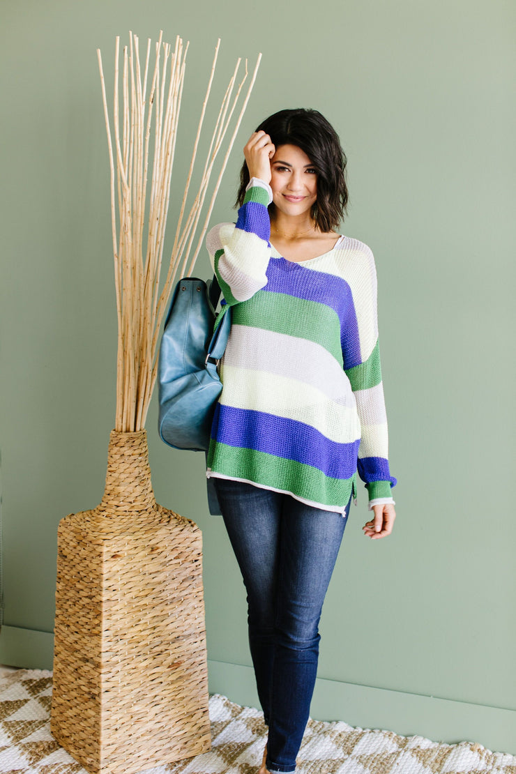 Sheers To You Striped Sweater - Women's Clothing AfterPay Sezzle KanCan Judy Blue Simply Sass Boutique