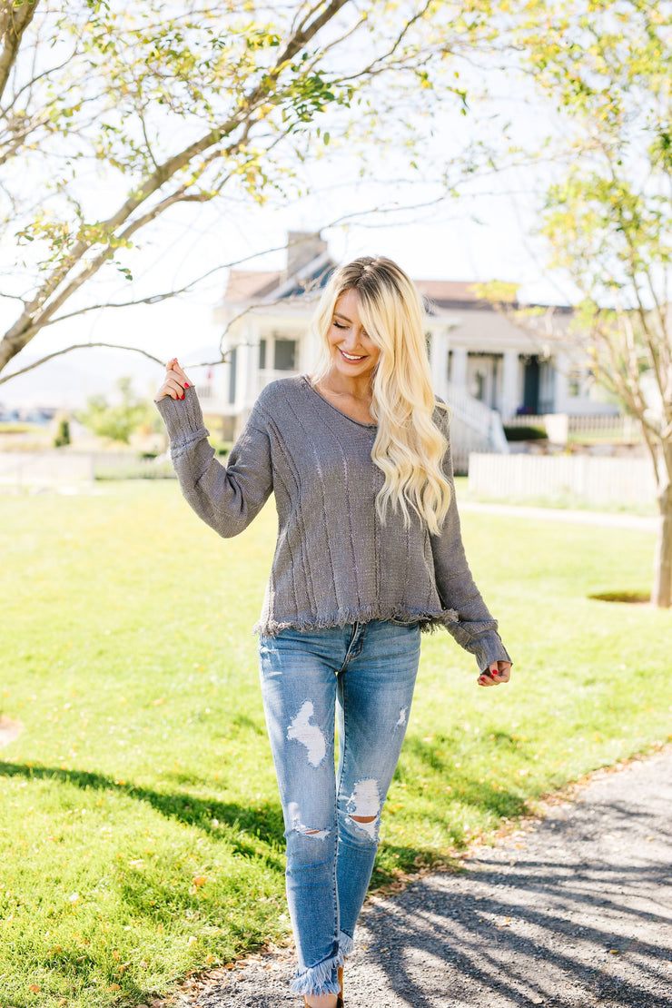Shredded Hem Charcoal Sweater - Women's Clothing AfterPay Sezzle KanCan Judy Blue Simply Sass Boutique