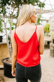 Silky Button-Down Tank In Red - Women's Clothing AfterPay Sezzle KanCan Judy Blue Simply Sass Boutique