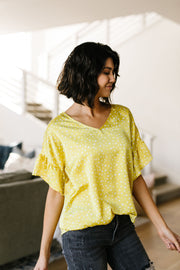 Silky Spots Ruffle Sleeve Blouse In Honey - Women's Clothing AfterPay Sezzle KanCan Judy Blue Simply Sass Boutique