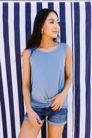 Simple Twist Top In Light Denim - Simply Sass Boutique