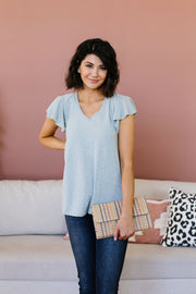 Slub Knit Flutter Sleeve Top - Women's Clothing AfterPay Sezzle KanCan Judy Blue Simply Sass Boutique