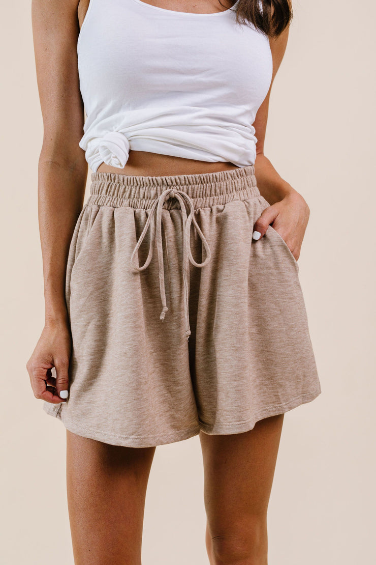Soft Landing Drawstring Shorts In Mocha - Simply Sass Boutique