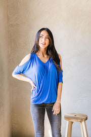 Split The Check Top In Blue - Simply Sass Boutique