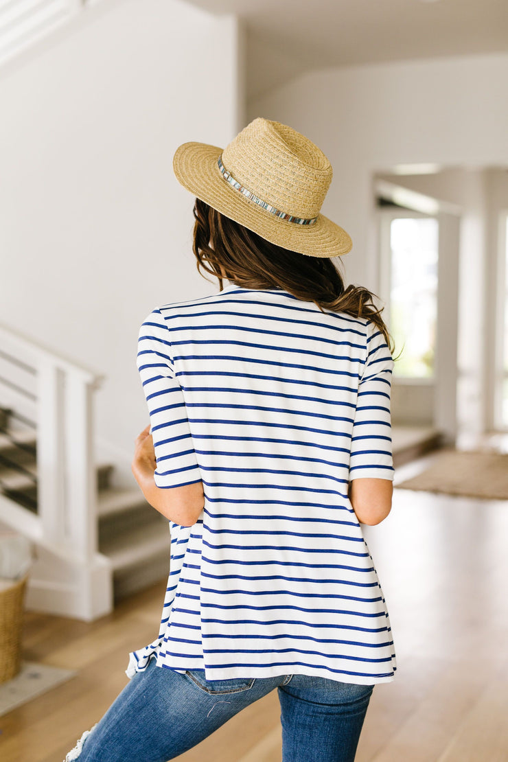 Sporty Striped Cardi In White - Women's Clothing AfterPay Sezzle KanCan Judy Blue Simply Sass Boutique