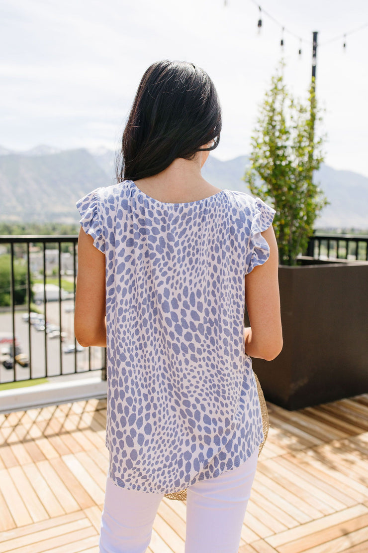Spots Of Baby Blue Top - Women's Clothing AfterPay Sezzle KanCan Judy Blue Simply Sass Boutique