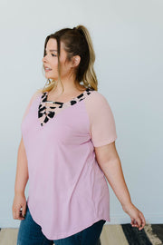 Strappy & Spotty V Top In Mauve - Women's Clothing AfterPay Sezzle KanCan Judy Blue Simply Sass Boutique