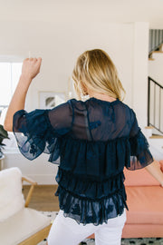 Strategic Ruffles Sheer Blouse - Women's Clothing AfterPay Sezzle KanCan Judy Blue Simply Sass Boutique