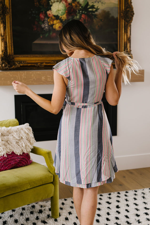 Striped Delight Ruffled Wrap Dress - Women's Clothing AfterPay Sezzle KanCan Judy Blue Simply Sass Boutique