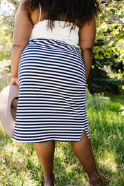 Striped Drawstring Skirt In Navy - Women's Clothing AfterPay Sezzle KanCan Judy Blue Simply Sass Boutique