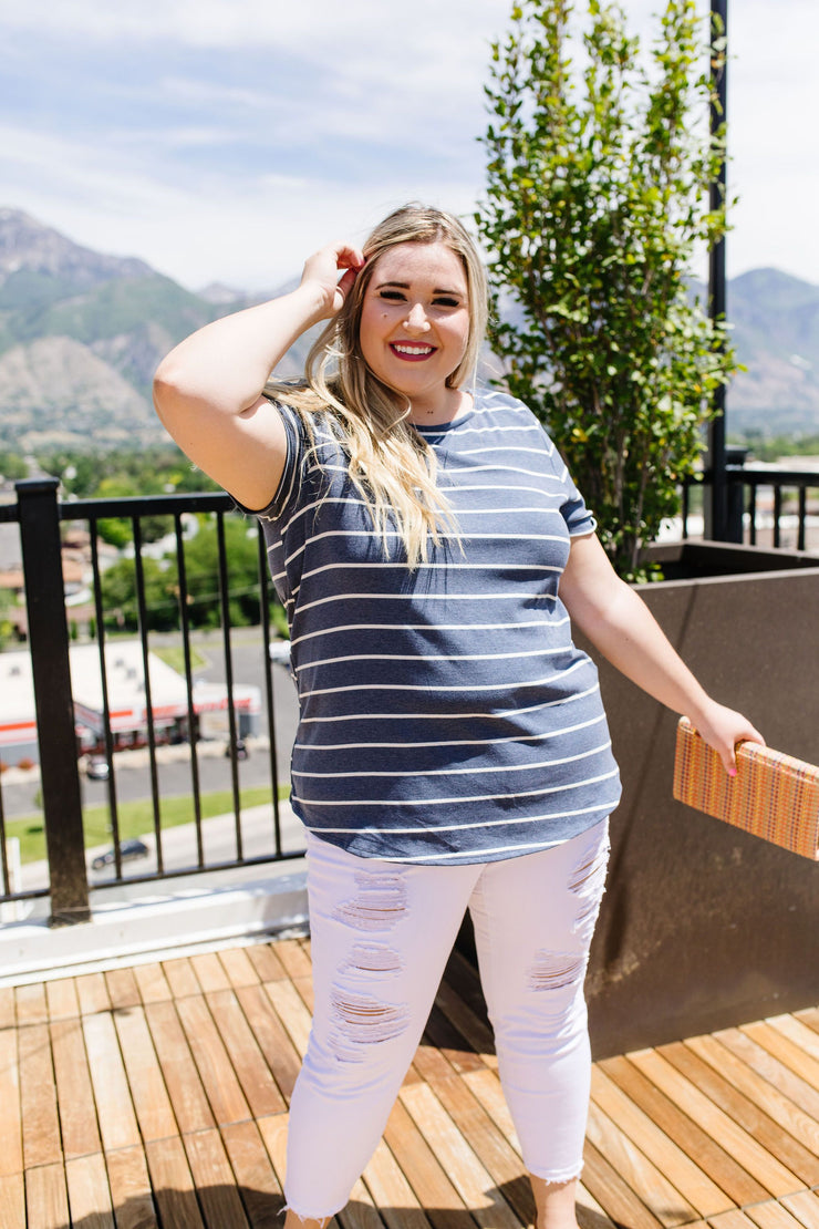 Striped Peekaboo Buttons & Lace Top - Women's Clothing AfterPay Sezzle KanCan Judy Blue Simply Sass Boutique