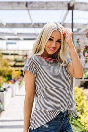 Striped Ringer Tee - Women's Clothing AfterPay Sezzle KanCan Judy Blue Simply Sass Boutique