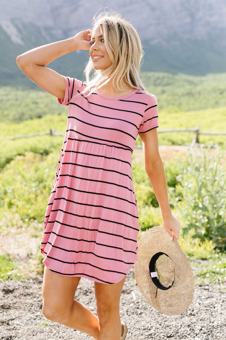 Stripey Babydoll Dress In Mauve - Women's Clothing AfterPay Sezzle KanCan Judy Blue Simply Sass Boutique