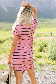 Stripey Babydoll Dress In Mauve - Simply Sass Boutique