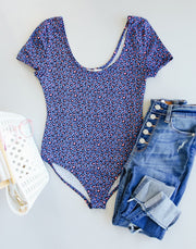 Sultry Spotted Bodysuit In Blue - Simply Sass Boutique