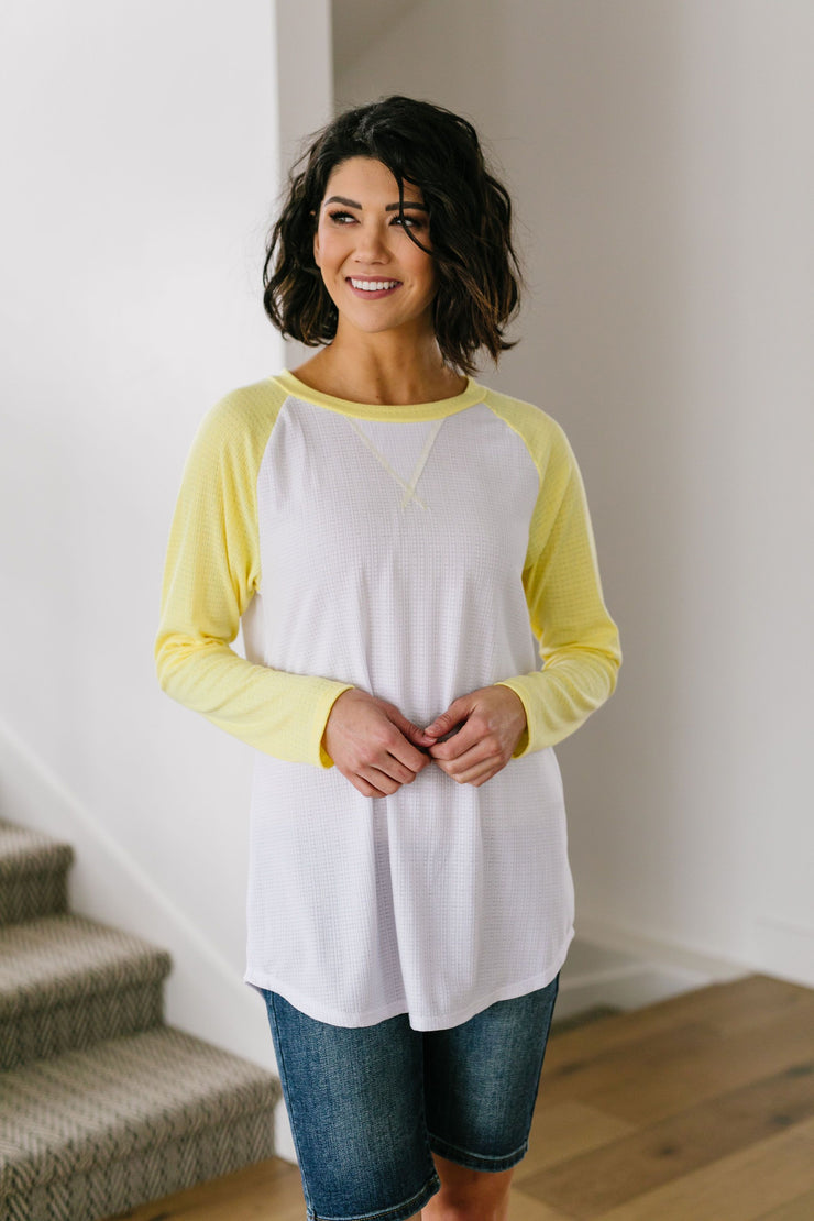 Team Spring Raglan Top In Lemon - Women's Clothing AfterPay Sezzle KanCan Judy Blue Simply Sass Boutique