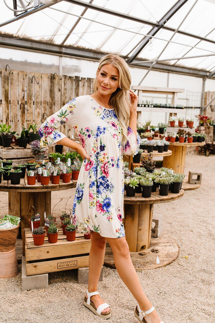 Terrace Garden Dress In Ivory - Simply Sass Boutique