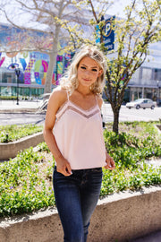 The Lace Escape Cami In Blush - Simply Sass Boutique