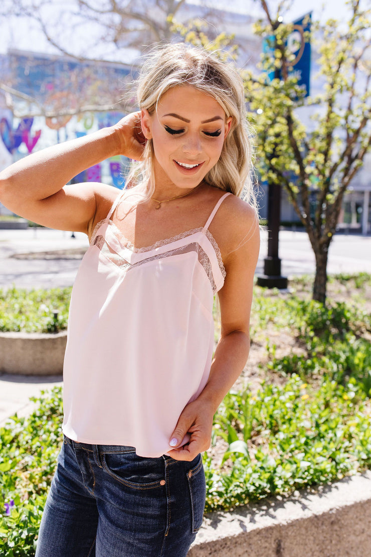 The Lace Escape Cami In Blush - Women's Clothing AfterPay Sezzle KanCan Judy Blue Simply Sass Boutique
