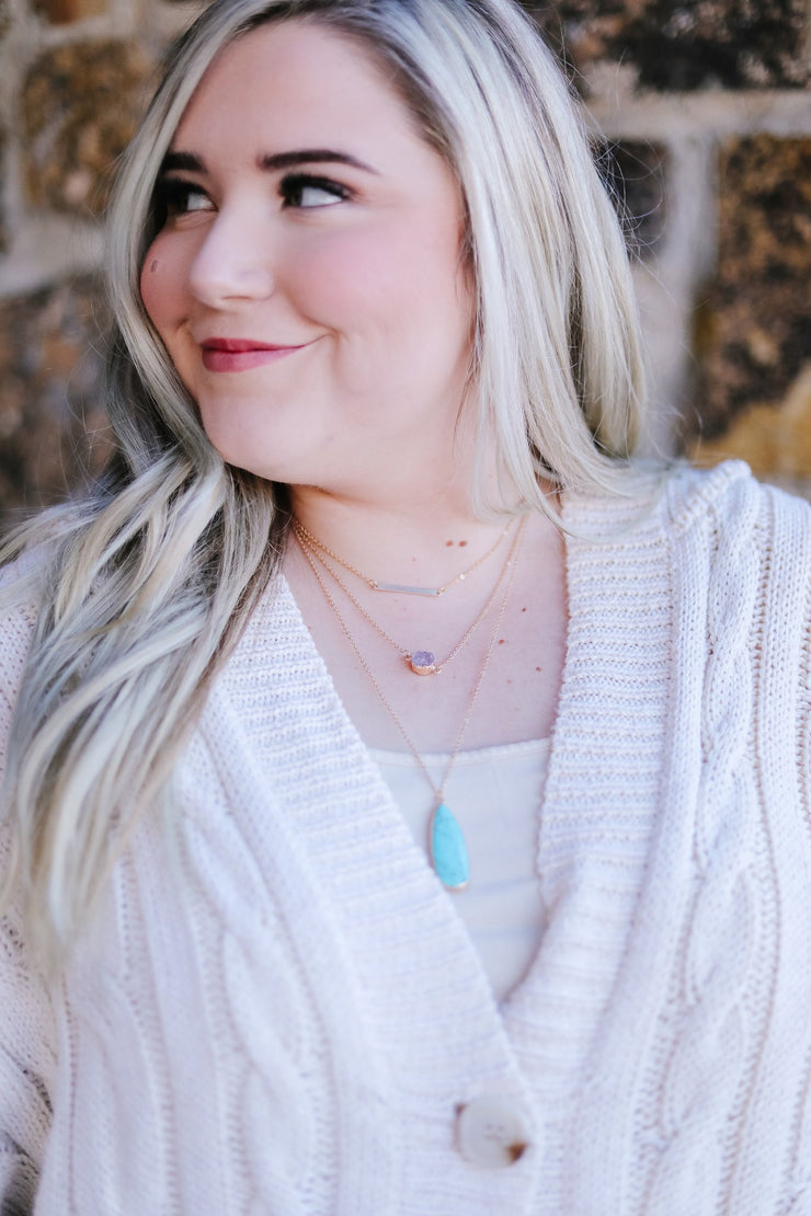 The Trifecta Statement Necklace In Turquoise - Women's Clothing AfterPay Sezzle KanCan Judy Blue Simply Sass Boutique