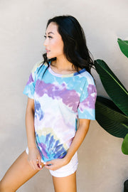 Tie Dye Swirls Top In Purple - Women's Clothing AfterPay Sezzle KanCan Judy Blue Simply Sass Boutique